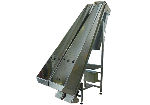 DOUBLE-CONVEYOR BELT WITH BATTENS